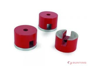 Three red button magnets