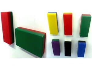 multiple multicoloured rectangular magnets