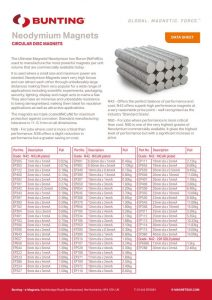 Neodymium Circular Disc Magnets - Data Sheet